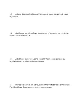 AP Government and Politics Mid-Term Review Questions