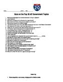 AP Government and Politics Top 20 Topics Quiz