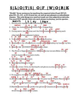 AP Grammar Worksheets (Sentence Slots, Phrases, & Clauses)