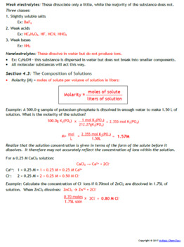 AP Guided Notes: Solution Stoichiometry and Chemical Reactions