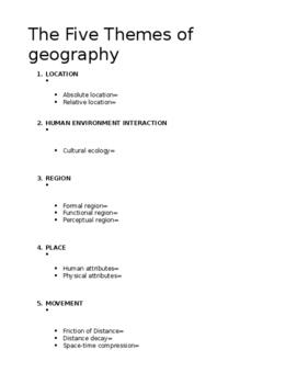 AP HUMAN GEOGRAPHY CH1 Notes Handouts