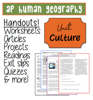 AP HUMAN GEOGRAPHY Culture Worksheets and Handouts 42 pages!