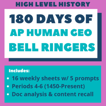 AP Human Geography: 180 days of Do Nows / Bell Ringers (Whole Year)