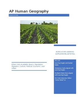 AP Human Geography - Agriculture Supplemental Activities