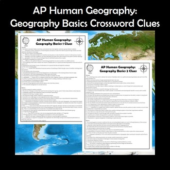 AP Human Geography Basics Vocabulary Crossword