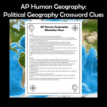 AP Human Geography Ethnicities Vocabulary Crossword