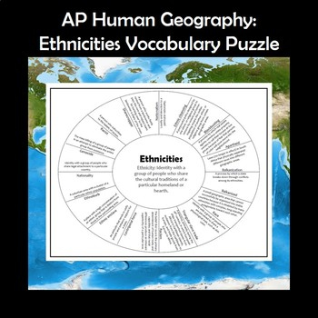 AP Human Geography Ethnicities Vocabulary Puzzle