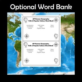 AP Human Geography Folk & Popular Culture Vocabulary Crossword