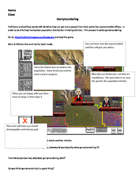 AP Human Geography: Gerrymandering Online Game Instructions w/ Worksheet