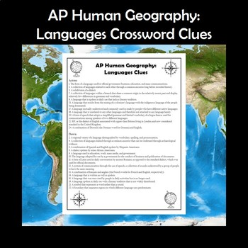 AP Human Geography Languages Vocabulary Crossword