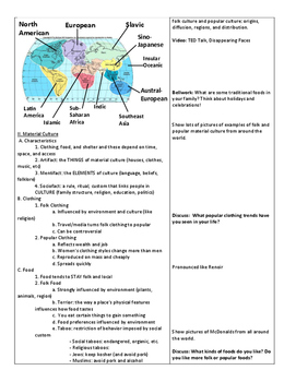 AP Human Geography Popular and Folk Culture Lecture Outlines and Notes