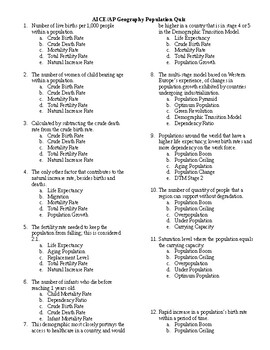 AP Human Geography Population Vocabulary Quiz