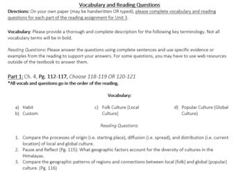 AP Human Geography Unit 3 Reading Assignment (Rubenstein)