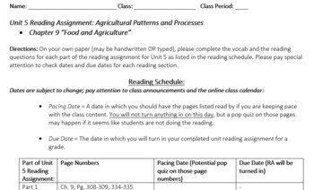AP Human Geography Unit 5 Reading Assignment (Rubenstein)