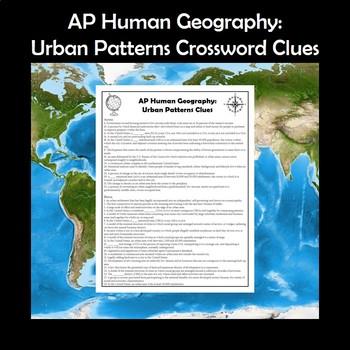 AP Human Geography Urban Patterns Vocabulary Crossword