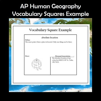 AP Human Geography Vocabulary Squares Chapter 1 Geography Basics