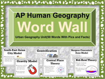 AP Human Geography Word Wall (Cities and Urban Land Use)