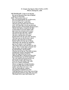 AP Hundred Years War and War of the Roses: St. Crispin's Day Speech, Henry V
