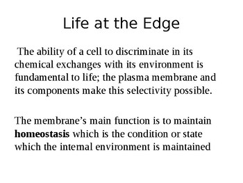 AP/IB Biology Structure and Function of Membrane and Transport