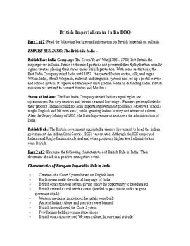 AP Imperialism: British Imperialism in India DBQ