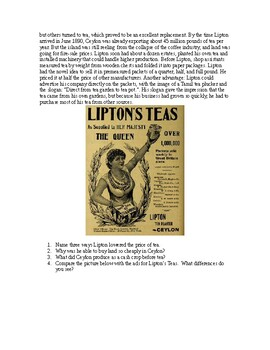 AP Imperialism: Lipton Tea: Advertising Imperialism