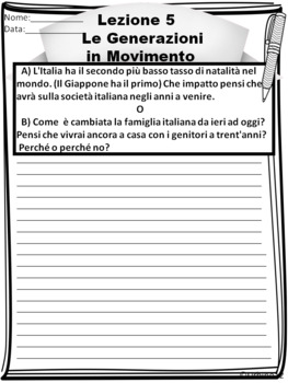 AP Italian Writing Prompt  Lezione 5  Le Generazioni in Movimento
