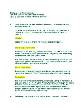 AP LANGUAGE AND COMPOSITION LANGUAGE ANALYSIS ESSAY COMMON STUDENT PROBLEMS