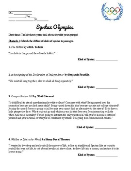 AP Language / Composition - Syntax Advertisement and Syntax Olympics