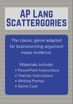 AP Lang Scattergories: Brainstorming Evidence for Argument Essays