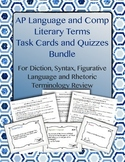 AP Lang and Comp Literary Terms Task Cards and Quizzes {Bundled}