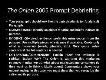 "AP Language 2005 ""The Onion"" essay prompt debriefing"