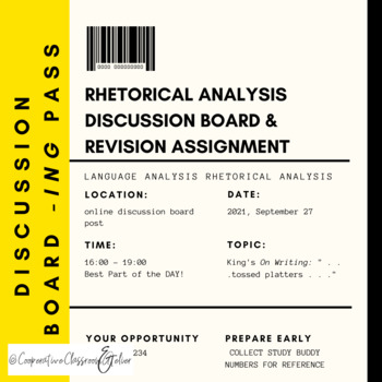 AP Language Analysis Discussion Board Assignment & Revision Assignment (*AP)