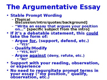 AP Language Argumentative Essay PowerPoint