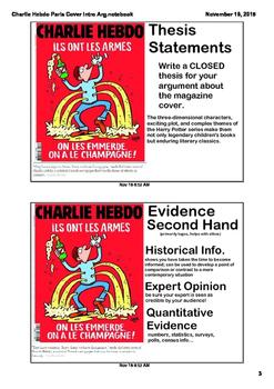 AP Language Charlie Hebdo Paris Cover Argument Practice Smart Notebook