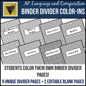 AP Language & Composition Binder Divider Color-Ins