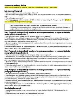 AP Language / Composition  - Essay Outlines