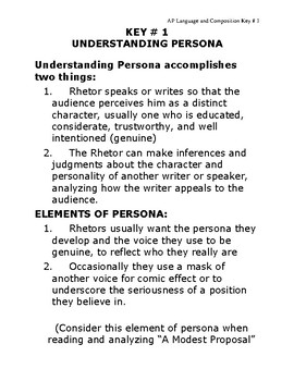 AP Language & Composition -  Key #1 Understanding Persona