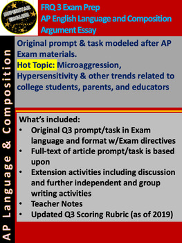 AP Language & Composition Q3 Argument - Original Prompt Modeled After Exam