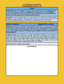 AP Language & Composition scaffolded writing activity