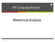 AP Language Essays Overview PowerPoint