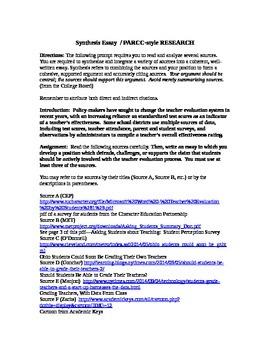 AP Language / PARCC-style Synthesis Research--Teacher Evaluation