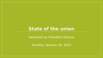AP Language- Political Rhetoric in Obama's 2015 State of the Union Address