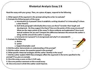 AP Language Rhetorical Analysis Essay Assessment Task Cards