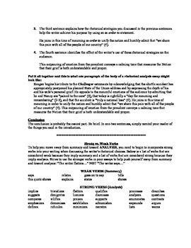 AP Language Rhetorical Analysis Set Up