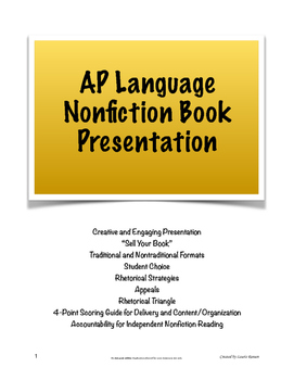"""AP Lang & Comp Independent Nonfiction Book Presentation; """"Sell Your Book"""""""