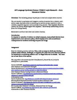 AP Language Synthesis Prompt / PARCC-style Research--Zero Tolerance Policies