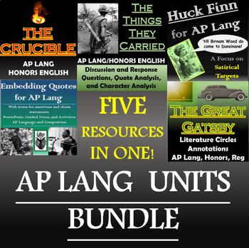 AP Language and Composition (AP Lang) Bundle - The Crucible, Huck, TTTC, More!