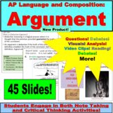 AP Language and Composition, Argument, Lessons and Activities
