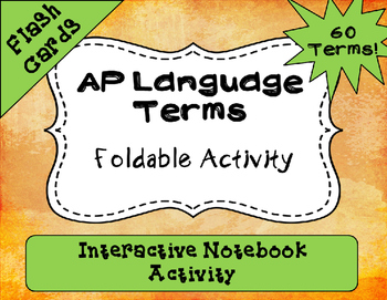 AP Language and Composition Interactive Notebook Foldable Terms