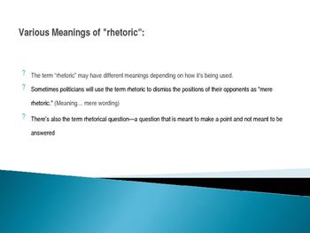 AP Language and Composition: Intro to Rhetoric slides